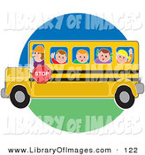 Clip Art of a School Bus Driver Man Driving School Children to or from School on a Circle by Maria Bell