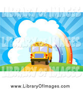 Clip Art of a School Bus near a Rainbow and Bursting Sky by Pushkin