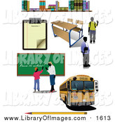 Clip Art of a School Bus, Teacher and School Items by Leonid