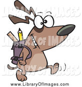Clip Art of a School Dog Walking with a Backpack by Ron Leishman