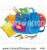Clip Art of a School Supplies Around a Backpack on White by Alex Bannykh