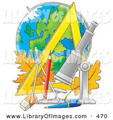 Clip Art of a School Supplies Telescope, Pencil, Pen, Eraser, Ruler, Compass and Leaves in Front of a Globe by Alex Bannykh