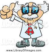 Clip Art of a Senior Scientist or Professor Holding a Thumb up by Dennis Holmes Designs