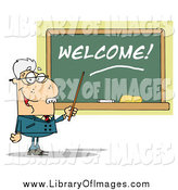Clip Art of a Senior White Male School Teacher Pointing to a Welcome Chalkboard by Hit Toon