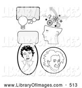 Clip Art of a Set of Educational Icons with Thought Bubbles, a Girl Thinking, Genius Head and Albert Einstein, on White by C Charley-Franzwa