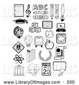 Clip Art of a Set of Many Educational Icons Including Music Notes, the Abcs, Globe, Albertin Einstein, Molecules and School Supplies by C Charley-Franzwa