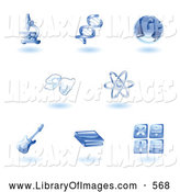 Clip Art of a Set of Shiny Blue Education Subject Icons by AtStockIllustration