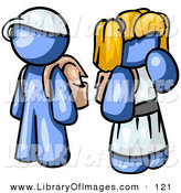 Clip Art of a Shiny Blue Boy Wearing a Hat and Carrying a Backpack, Standing Beside a Blond Blue Girl in a Dress, Who Is Also Carrying a Backpack and Holding Her Hand by Her Mouth by Leo Blanchette