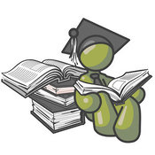 Clip Art of a Shiny Olive Green Male Student in a Graduation Cap, Reading a Book and Leaning Against a Stack of Books by Leo Blanchette