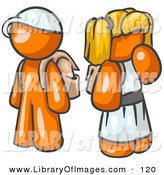 Clip Art of a Shiny Orange Boy Wearing a Hat and Carrying a Backpack, Standing Beside a Blond Orange Girl in a Dress, Who Is Also Carrying a Backpack and Holding Her Hand by Her Mouth by Leo Blanchette