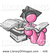 Clip Art of a Shiny Pink Male Student in a Graduation Cap, Reading a Book and Leaning Against a Stack of Books by Leo Blanchette