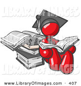 Clip Art of a Shiny Red Male Student in a Graduation Cap, Reading a Book and Leaning Against a Stack of Books by Leo Blanchette