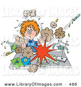 Clip Art of a Shocked School Girl Conducting a Chemistry Experiment While Her Test Chemicals Explode by Alex Bannykh