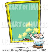 Clip Art of a Short Old White Male Professor Writing on a Sky Background Chalkboard by Johnny Sajem