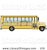 Clip Art of a Side of an Empty Yellow School Bus Driving Right by Djart