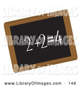 Clip Art of a Simple Math Equation Written in Chalk on a Black Chalkboard by Rasmussen Images