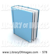 Clip Art of a Single Blue Text Book Standing Upright, on White by KJ Pargeter