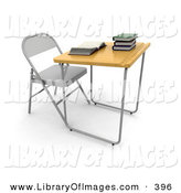 Clip Art of a Single Student School Desk in a Class Room, with a Wooden Surface and a Groove for Pencils, an Open Book and a Stack of Books on Top on White by KJ Pargeter
