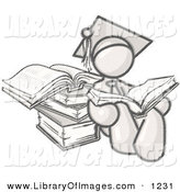 Clip Art of a Sketched Design Mascot Male Student in a Graduation Cap with a Tassel, Seated and Leaning Against Books, Reading an Open Encyclopedia on White by Leo Blanchette