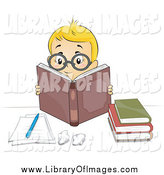 Clip Art of a Smart Blond Caucasian Boy Wearing Glasses and Reading Books by BNP Design Studio