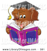 Clip Art of a Smart Brown Dog Wearing a Graduation Cap and Reading a Book by Alex Bannykh