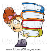 Clip Art of a Smart Brunette School Girl Carrying a Stack of Books by Hit Toon