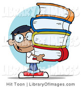 Clip Art of a Smart Hispanic School Boy Carrying a Large Stack of Books by Hit Toon