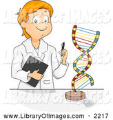 Clip Art of a Smart Male Student Studying a DNA Model by BNP Design Studio
