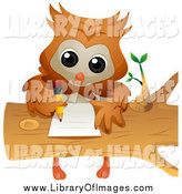 Clip Art of a Smart Owl Doing Homework on a Log by BNP Design Studio
