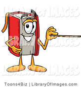 Clip Art of a Smart Red Book Mascot Cartoon Character Holding a Pointer Stick by Toons4Biz