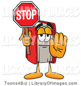 Clip Art of a Smart Red Book Mascot Cartoon Character Holding a Stop Sign by Toons4Biz