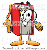 Clip Art of a Smart Red Book Mascot Cartoon Character Looking Through a Magnifying Glass by Toons4Biz