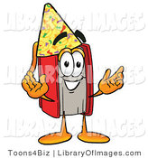 Clip Art of a Smart Red Book Mascot Cartoon Character Wearing a Birthday Party Hat by Toons4Biz