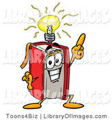 Clip Art of a Smart Red Book Mascot Cartoon Character with a Bright Idea by Toons4Biz