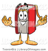 Clip Art of a Smart Red Book Mascot Cartoon Character with Welcoming Open Arms by Toons4Biz