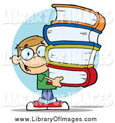Clip Art of a Smart School Boy Carrying a Stack of Books by Hit Toon
