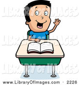 Clip Art of a Smart School Boy Raising His Hand by Cory Thoman