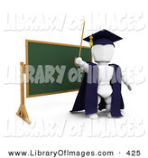 Clip Art of a Smart White Character Teacher in a Cap and Gown, Waving a Cane and Standing in Front of a Chalk Board by KJ Pargeter