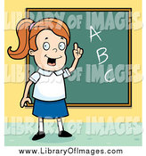 Clip Art of a Smart White School Girl with ABCs on a Chalk Board by Cory Thoman