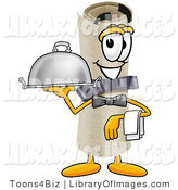 Clip Art of a Smiling Diploma Mascot Cartoon Character Dressed As a Waiter and Holding a Serving Platter by Toons4Biz