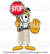 Clip Art of a Smiling Diploma Mascot Cartoon Character Holding a Stop Sign by Toons4Biz