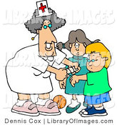Clip Art of a Smiling Female School Nurse Putting a Bandage on a Boo-Boo of a School Boy by Djart
