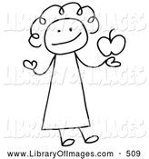Clip Art of a Smiling Female Stick Person Teacher Holding an Apple by C Charley-Franzwa