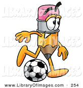 Clip Art of a Smiling Pencil Mascot Cartoon Character Kicking a Soccer BallSmiling Pencil Mascot Cartoon Character Kicking a Soccer Ball by Toons4Biz