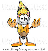 Clip Art of a Smiling Pencil Mascot Cartoon Character Wearing a Birthday Party Hat by Toons4Biz