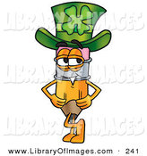 Clip Art of a Smiling Pencil Mascot Cartoon Character Wearing a Saint Patricks Day Hat with a Clover on It by Toons4Biz