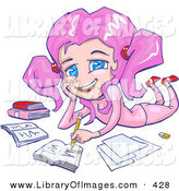 Clip Art of a Smiling Pink Haired, Blue Eyed School Girl in Pink Clothing, Laying on Her Belly and Doing Homework for School by Tonis Pan