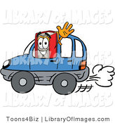 Clip Art of a Smiling Red Book Mascot Cartoon Character Driving a Blue Car and Waving by Toons4Biz