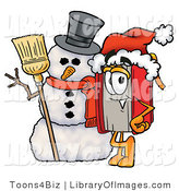 Clip Art of a Smiling Red Book Mascot Cartoon Character with a Snowman on Christmas by Toons4Biz