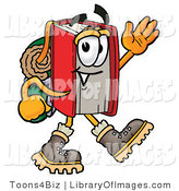 Clip Art of a Sportsmanlike Red Book Mascot Cartoon Character Hiking and Carrying a Backpack by Toons4Biz
